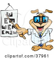 Clipart Illustration Of A Dog Optometrist Pointing To An Eye Chart