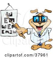 Dog Optometrist Pointing To An Eye Chart