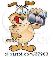 Clipart Illustration Of A Brown Dog Filming A Home Video With A Cam Corder