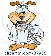 Clipart Illustration Of A Dentist Dog Wearing A Head Lamp And Holding Out An Extracted Tooth