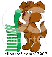 Clipart Illustration Of A Brown Dog Holding Up A Green Comb