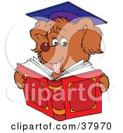 Clipart Illustration Of A Graduate Dog Reading