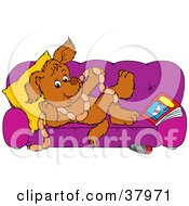 Spoiled Dog On A Purple Couch Holding Links Of Sausage