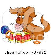Clipart Illustration Of A Dog Chewing On Sausage And Drooling Over A Dish
