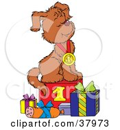 Clipart Illustration Of A Successful Dog Wearing A First Place Medal Seated Proudly Atop A Step With Gifts