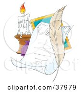 Clipart Illustration Of A Feather Quill With A Letter And Candle by Alex Bannykh