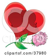 Clipart Illustration Of A Silhouetted Kissing Couple In A Heart With A Pink Rose