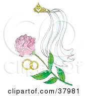 Clipart Illustration Of A Tiara Veil Wedding Bands And Pink Rose