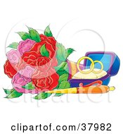 Clipart Illustration Of Wedding Rings In A Box By A Pen And Roses by Alex Bannykh