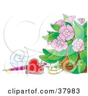 Clipart Illustration Of A Vase Of Pink Flowers Red Heart Pendant Pen And Rolled Paper by Alex Bannykh