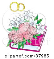 Clipart Illustration Of Wedding Bands Over White Flowers And Pink Roses On A Book
