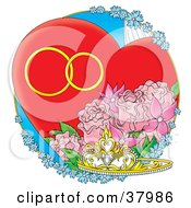 Clipart Illustration Of A Tiara With Pink Roses And Blue Flowers With A Heart And Wedding Bands