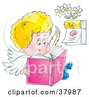 Happy Angel Reading A Book Near A Calendar