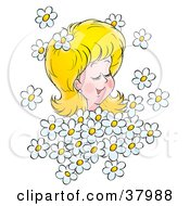 Clipart Illustration Of A Blond Woman Being Showered In White Daisies by Alex Bannykh