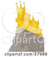 Castle With Flats And Turrets On A Cliff