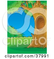 Clipart Illustration Of A Mature Tree With A Hole Framing A Scene Of Lush Lawn And Bushes by Alex Bannykh