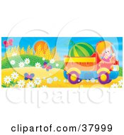 Clipart Illustration Of A Friendly Boy Waving While Driving A Watermelon In A Truck By Flowers And Butterflies