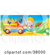 Clipart Illustration Of A Boy Cranking Up His Truck As Butterflies Surround Him And A Watermelon