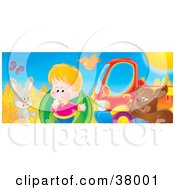Clipart Illustration Of A Rabbit Bird Butterfly Boy And Puppy Trying To Load A Heavy Watermelon Into A Truck