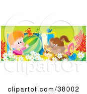 Clipart Illustration Of A Boy In A Window Showing Off A Watermelon To A Bird Cat And Dog