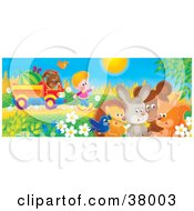 Clipart Illustration Of A Boy Waving To A Bird Hedgehog Rabbit Bear And Fox While Pulling A Watermelon And His Puppy N A Truck by Alex Bannykh