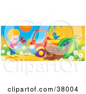 Clipart Illustration Of Butterflies Around A Boy Bluebird And Puppy Beside A Truck And Watermelon At The Edge Of A Wheat Field