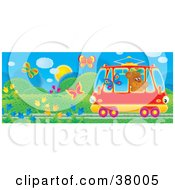 Clipart Illustration Of A Friendly Bear Waving At Butterflies While Riding Past In A Rail Car