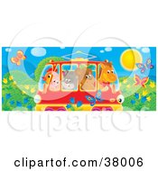 Clipart Illustration Of A Horse Bear Cat Pig And Chicken Crowded Into A Rail Car Passing A Meadow With Butterflies And Flowers