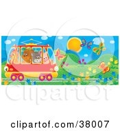 Clipart Illustration Of A Crowded Tram Car With A Chicken Bear Cat And Pig Riding Through A Garden Of Flowers And Butterflies by Alex Bannykh