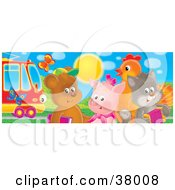 Clipart Illustration Of Butterflies Near A Bear Pig Chicken And Cat Standing By A Rail Car by Alex Bannykh