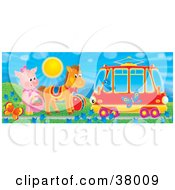 Clipart Illustration Of A Bird In A Tram Car Passing A Pig And Horse By Butterflies And Flowers