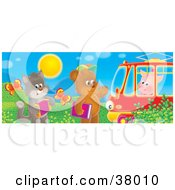 Clipart Illustration Of A Cat With An Accordian And Bear With A Book Waving At A Piggy In A Tram Car
