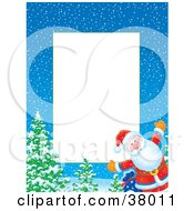 Clipart Illustration Of A Christmas Border Of Santa By Trees On A Wintry Night by Alex Bannykh
