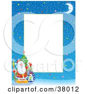 Clipart Illustration Of A Starry Winter Night Christmas Border With Santa A Christmas Tree And Toy Sack