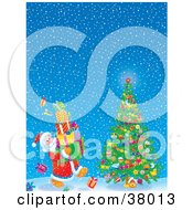 Clipart Illustration Of Santa Claus Carrying Gifts To A Christmas Tree On A Snowy Night