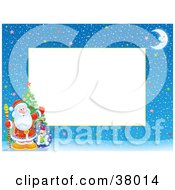 Clipart Illustration Of Santa Waving And Standing With A Christmas Tree And Toy Sack On A Winter Night Stationery Border by Alex Bannykh