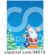 Clipart Illustration Of Santa With His Sack Of Toys Standing By Trees On A Winter Night