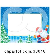 Clipart Illustration Of A Christmas Border Of Santa By Trees On A Snowing Night by Alex Bannykh