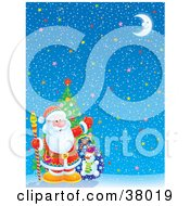 Clipart Illustration Of Santa With A Tree And Toy Sack In The Corner Of A Starry Christmas Background