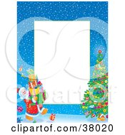 Clipart Illustration Of A Border Of Santa Carrying Presents To A Christmas Tree