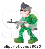 Soldier In Green Carrying A Weapon And Wearing A Headset