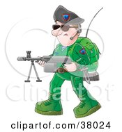 Soldier In Green With An Antenna On His Back Carrying A Weapon And Wearing A Headset