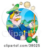 Clipart Illustration Of A Man Pulling A Horn While Operating A Train by Alex Bannykh