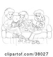 Clipart Illustration Of A Black And White Outline Of A Happy Family Reading On A Couch by Alex Bannykh