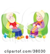 Clipart Illustration Of A Happy Senior Woman Knitting And Sitting In A Chair By Her Husband