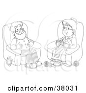 Clipart Illustration Of A Black And White Outline Of A Senior Man And Woman Knitting