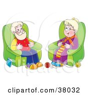 Happy Grandpa And Grandma Seated In Chairs The Woman Knitting