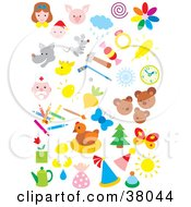 Clipart Illustration Of People Animals Weather Sports And Art by Alex Bannykh