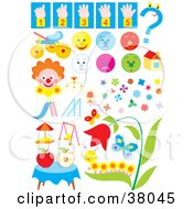 Clipart Illustration Of Counting Faces Toys Clowns Shapes Bugs And Flowers by Alex Bannykh