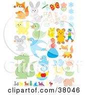 Clipart Illustration Of A Set Of Animals People And Flowers by Alex Bannykh
